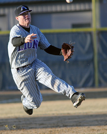 Mountain View High School third baseman Derek Neeper makes a throw to first base after fielding a ground ball during a game against Loveland on March 12, 2010 at Swift Field. Mountain View won, 13-3.