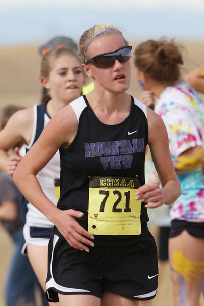 Mountain View High School's 721 runs in a class 4A State Cross Country Championship at the Arapahoe County Fairgrounds on Oct. 30 in Aurora. (Heather A. Longway/ The Reporter-Herald)