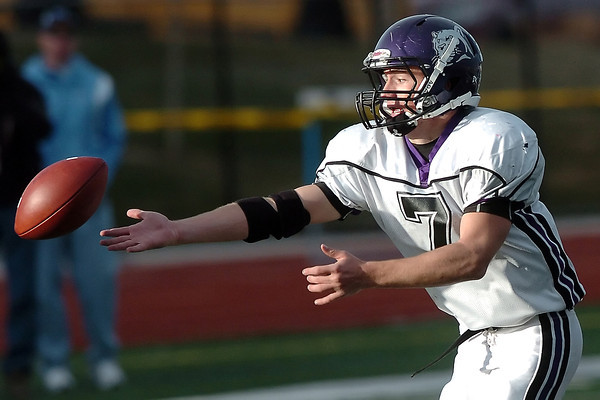 Mountain View High School senior Steve Ryan just misses catching a pass late in the fourth quarter of a Class 3A State Football semi-final game agaisnt Valor Christian on Saturday, Nov. 28, 2009 at Valor Stadium in Highlands Ranch. The Mountain Lions lost, 21-7.