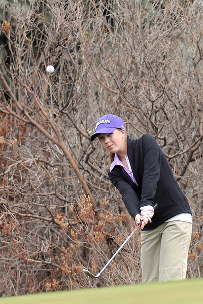 Mountain View High School sophomore Kelsey Greiner hits a chip shot during a city golf tournament Wednesday, April 6, 2011 at The Olde Course in Loveland.