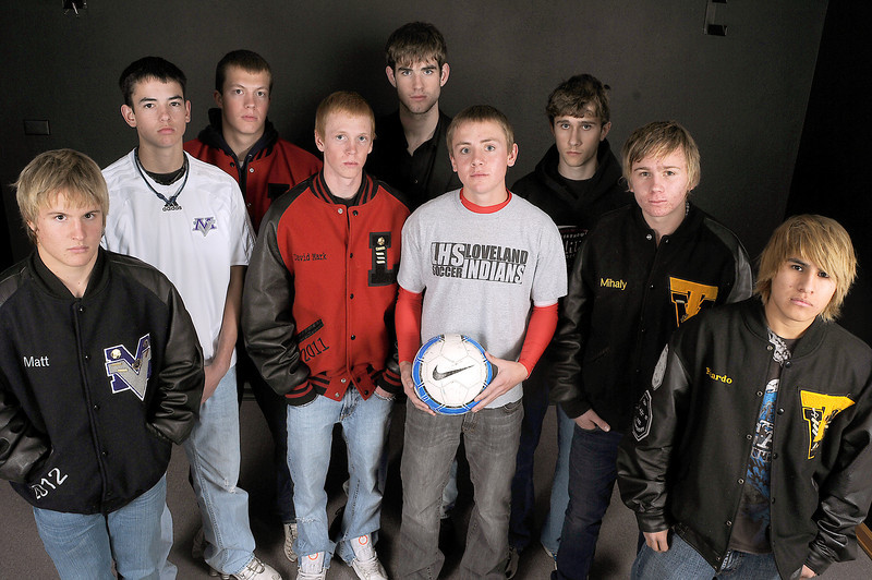 The Loveland Reporter-Herald All-Area Soccer team is, from left, Matt Boettcher and Chris Lydon of Mountain View High School, Drake Stewart and David Rodgers of Loveland High School, Austin Puckett of Berthoud High School, Luke Chapman of Loveland, Michael Berra of Berthoud, Tony Mihaly and Ricardo Apolonio of Thompson Valley High School.