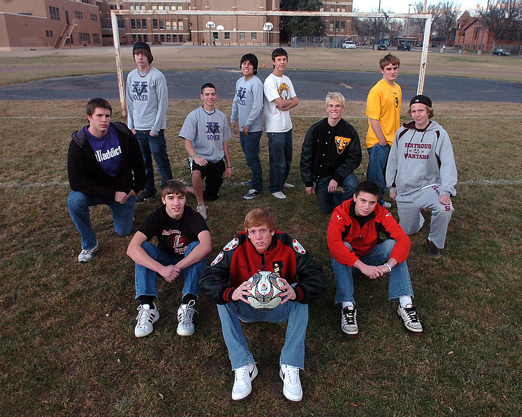 All area soccer players at Bill Reed Middle School Monday. Clockwise from center they are player of the year LHS Dewey Rodgers, LHS Joe Etling SP?, BHS Martinius Karlsen, TV Andrew Dennis, TV Ben Williamson, TV Seth Rickard, MV's Kevin Aguilar, Chris Lydon, Michael Ward, and Quinn Benson and LHS Brian Strasbaugh.
