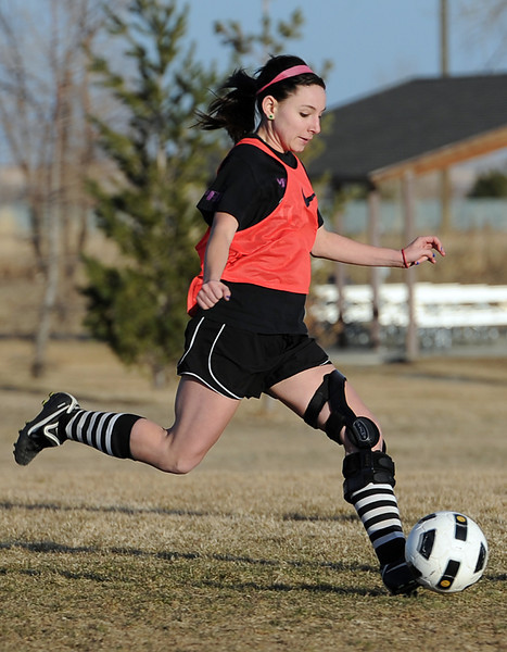 Mountain View High School soccer player Emily McFeron practices last Wednesday at the school in Loveland. Photo by Jenny Sparks