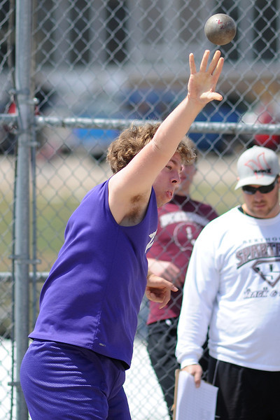 Mountain View High School freshman Scott Sipes makes a throw while competing in the shot put event during the R2J Invitational meet on Wednesday, April 24, 2013 at Loveland High School.