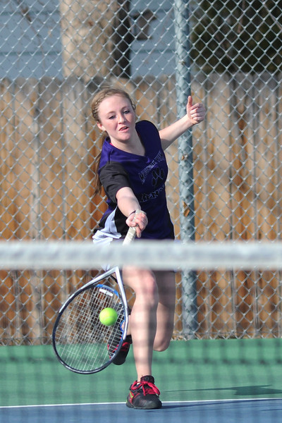 Mountain View High School's Bri Dupre lunges for a forehand during her No. 3 singles match against Thompson Valley's Miranda Sheets on Thursday, March 14, 2013 at TVHS.