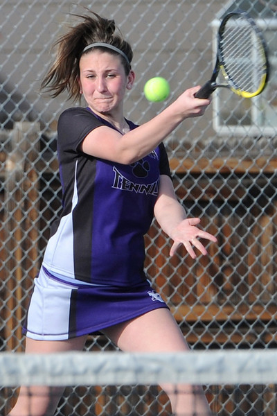 Mountain View High School's Ashley Freeman returns a shot during her No. 1 singles match against Thompson Valley's Kaley Hernblom on Thursday, March 14, 2013 at TVHS.