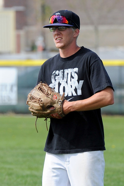 Mountain View High School center fielder Kollin Evens during practice Tuesday, May 21, 2013 at MVHS.