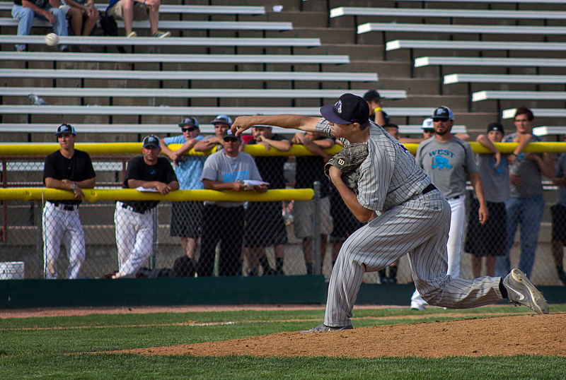 Mountain View High School pitcher Alec Suarez pitches during the Colorado State High School 4A championship game, May 25 , 2013, in Denver, Colo. (Photo by Timothy Hurst)