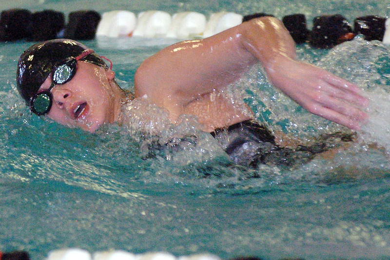 Mountain View High School's Hannah Abelein swims a leg of the 400-yard freestyle relay during the Mountain View Invite on Saturday at the Mountain View Aquatic Center.