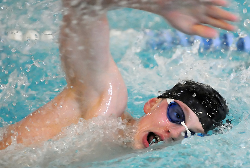 Mountain View High School sophomore Alex Nickell swims in the 500-yard freestyle finals during the Dick Rush Invitational swim meet on Saturday at the Edora Pool Ice Center in Fort Collins.