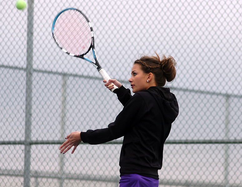 Mountain View's Aubree Bullock plays during a match against Loveland's Kim Weissman Thursday.