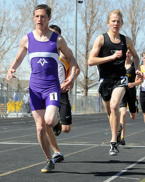 Mountain View High School senior Nick Black, left, and Thompson Valley sophomore Gus Waneka compete in the 800-meter run Saturday during the Windsor Invitational. Black won the event with a time of 2 minutes, 6.21 seconds and Waneka placed sixth at 2:15.41.