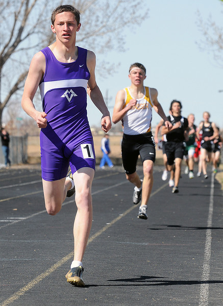 Mountain View High School junior Nick Black heads for a first-place finish with a time of 2 minutes, 6.21 seconds in the 800-meter run during the Windsor Invitational on Saturday at Windsor High School.