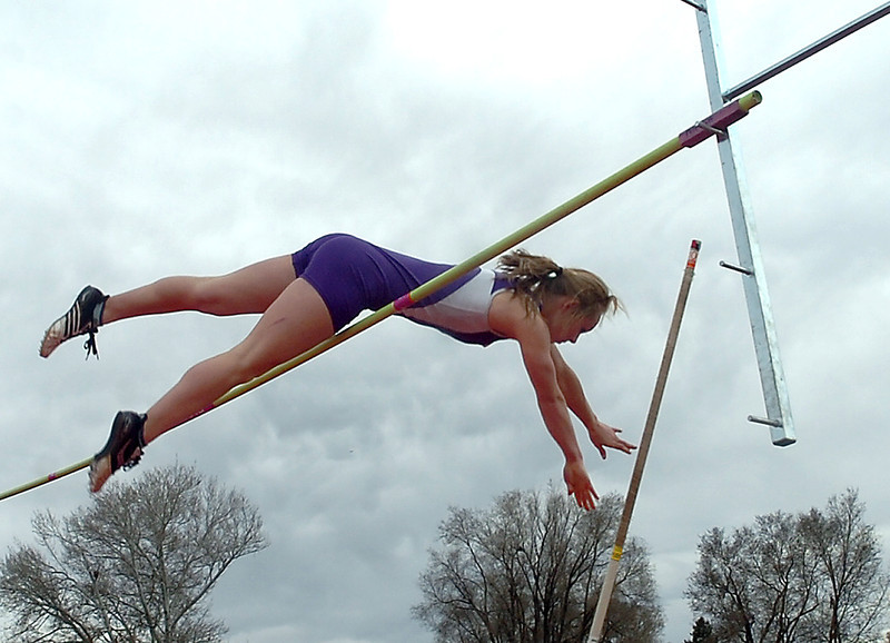 Mountain View High's Jaycee Gordley clears the bar doing the pole vault monday during a track meet at Roosevelt High.