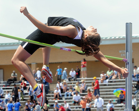 Mountain View High School senior Amy Medina clears the bar while competing at high jump Thursday during the Class 4A State Track and Field Championships at Jeffco Stadium in Lakewood.