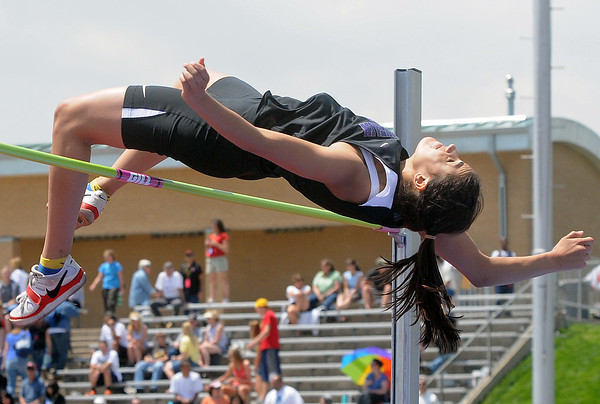 Mountain View High School senior Amy Medina clears the bar at 5 feet, 7 inches to win the high jump during the Class 4A State Track and Field Championships on Thursday at Jeffco Stadium in Lakewood.
