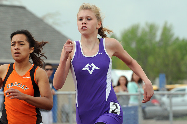 Mountain View High School freshman Shania Beldon competes in the 400-meter run during the Northern Conference Track and Field Championships on Tuesday at Broomfield High School.