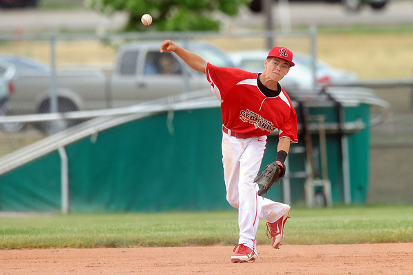 Davidson Chevrolet shortstop Ayden Eberhardt makes the throw to first base after fielding a ground ball during a game against Johnson's Corner on Friday, June 21, 2013 at Brock Field.