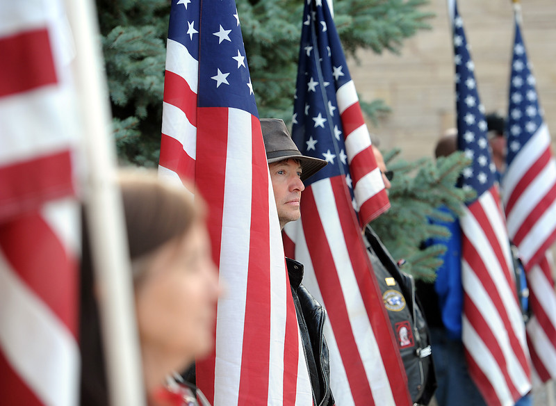 Patriot Guard Riders line the entrance to Resurrection Fellowship Church Friday as during Staff Sgt. Christopher Birdwell's memorial service.