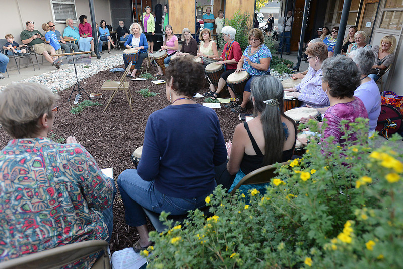 Djembe Jive and members of Gregg Hanson's Front Range Djembe Orchestra play drums as part of the Night on the Town event on Friday evening in downtown Loveland.