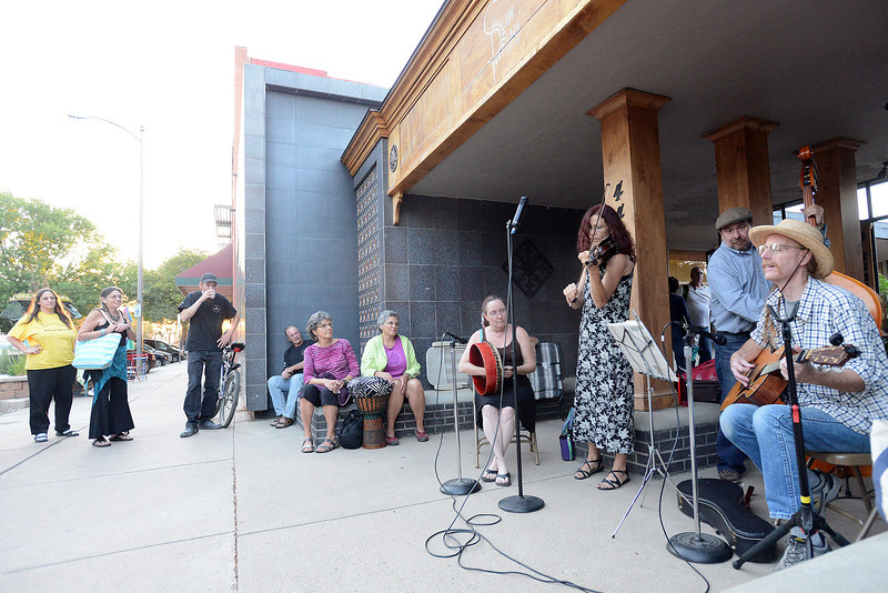 Members of the group Lalla Rookh play Celtic music during the Night on the Town event on Friday, Sept. 15, 2012 at the Sun Plaza Office Suites in downtown Loveland.