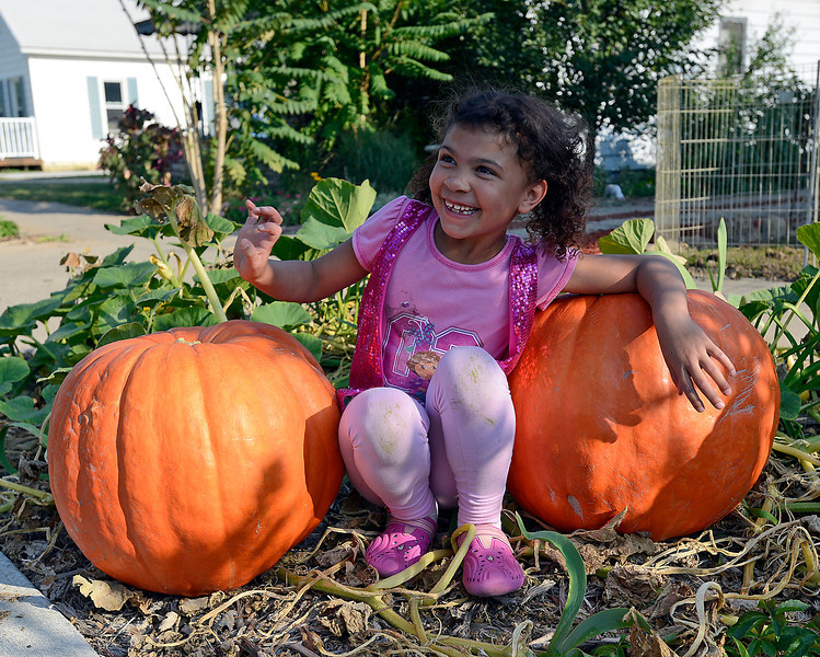 Trinity Holloway, 7, shares a laugh with her grandmother Karen DeMars Tuesday as she sits by two huge pumpkins DeMars grew in front of her downtown Loveland home.