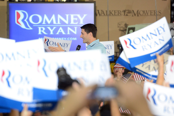 Republican vice-presidential candidate Paul Ryan speaks during a campaign rally on Wednesday, Sept. 26, 2012 at Walker Manufacturing in Fort Collins.