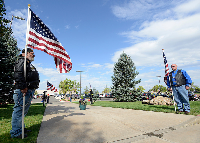 Patriot Guard Riders line the entrance to Resurrection Fellowship Church Friday during Staff Sgt. Christopher Birdwell's memorial service.