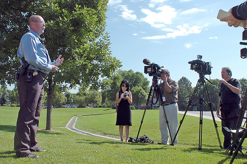Larimer County Sheriff Jim Alderden speaks to members of the media about two women who were attacked Sunday near the Pingree Park area in Larimer County.