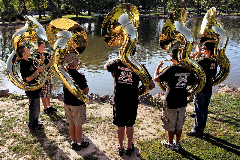 during the Loveland High School Crimson Regiment Band-Aid Fundraiser on Sunday at North Lake Park.