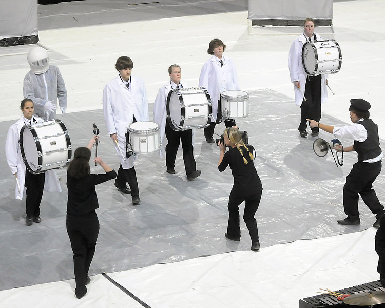 Members of the Thompson Valley High School Indoor Percussion Ensemble perform Saturday, April 3, 2010 during the Rocky Mountain Percussion Association Championships at the Budweiser Events Center.