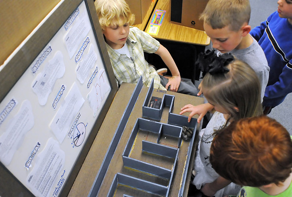 Namaqua Elementary School fifth grader Orion Schroeder, 11, left, demonstrates his science fair project to second graders Max Huckaby, 7, Galen Siebrandt, 8, Madilenn Baca, 7, and Jonathan Otte, 7, during the science walk event on Thursday. Orion's experiment was to see which type of food would best motivate his Siberian-Russian dwarf hamster named Sugar to navigate a maze. He determined that yogurt treats worked best to motivate Sugar. Fifth graders displayed their projects to students, parents and teachers during a preview for a science walk and art show later Thursday evening as part of a school fundraiser.