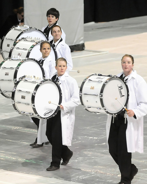 Members of the Thompson Valley High School Indoor Percussion Ensemble, from top to bottom, Jake Von Lintel, Tylynn Zeigler, Holly Krebs, Melanie Poston, and Mandy Feneis perform Saturday, April 3, 2010 during the Rocky Mountain Percussion Association Championships at the Budweiser Events Center.