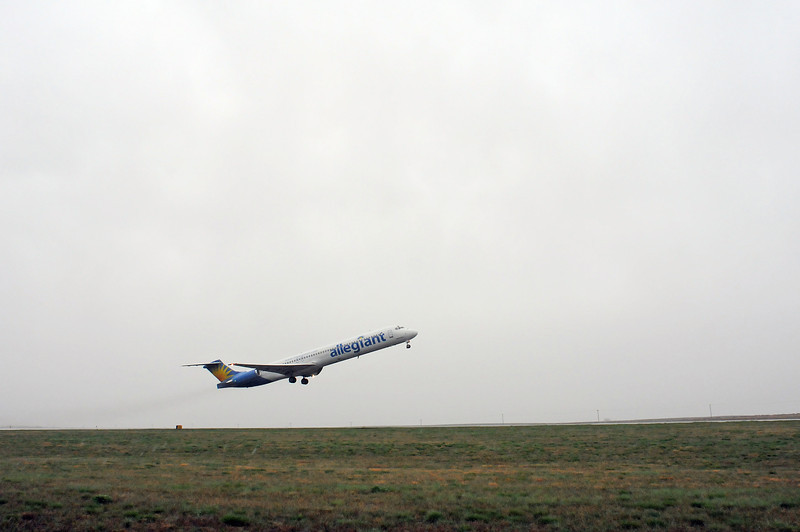 An Allegiant Airlines flight to Las Vegas takes off from the Fort Collins/Loveland Airport on Friday, April 23, 2010.