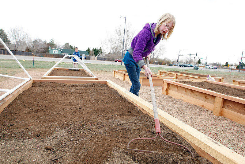 Lydia Morris, 10, rakes the dirt in a planter box, preparing it to plant seeds Sunday at King of Glory Lutheran Church. (Photo by Gabriel Christus)
