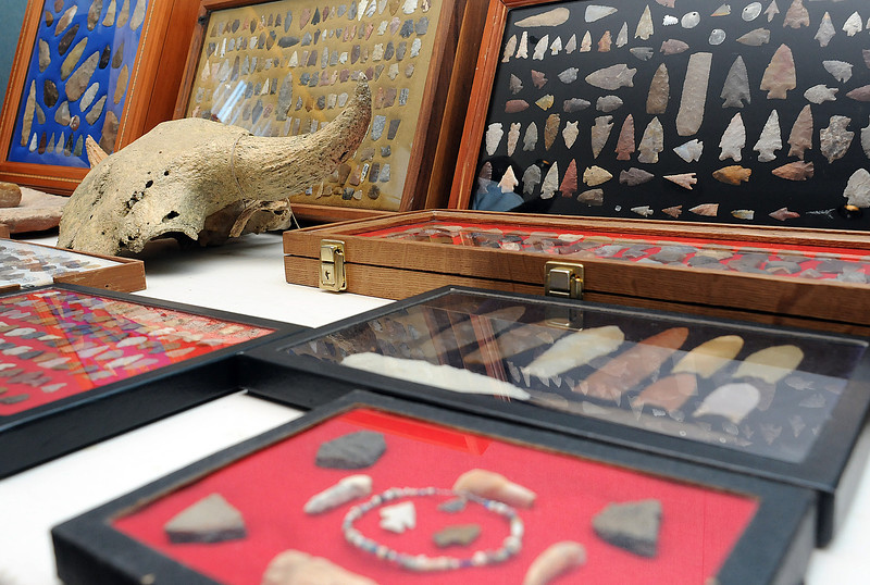 A variety of items on display during the Loveland Archaeological Society's Spring Into Archaeology Show on Saturday at Poudre Valley REA.
