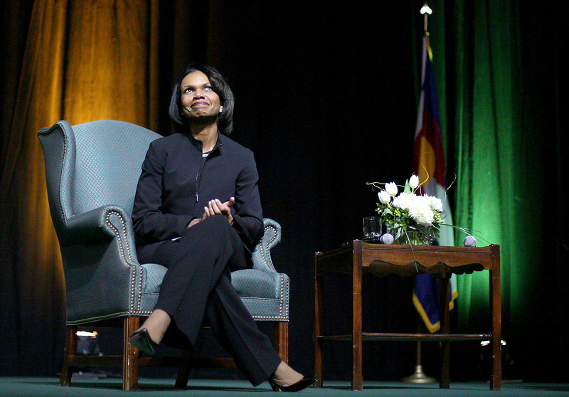 Former Secretary of State, Condoleezza Rice waits to take the stand Tuesday at Moby Arena in Fort Collins. (Photo by Gabriel Christus)