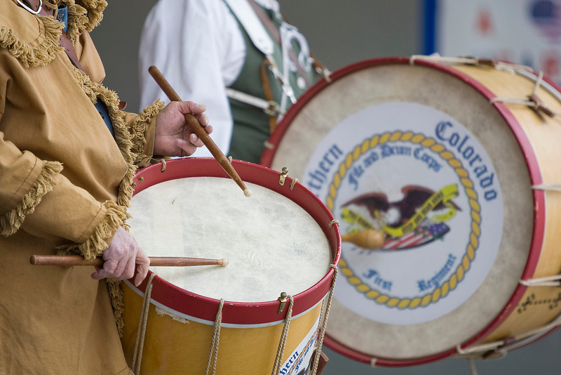 Members of the Northern Colorado File and Drum Corps play music at the start of a Tea Party rally Saturday at the amphitheatre in North Lake Park.   (Photo by Gabriel Christus)
