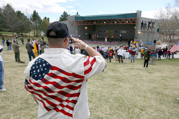 Robb Smith during the opening ceremony of a Tea Party rally Saturday at the amphitheatre in North Lake Park.   (Photo by Gabriel Christus)