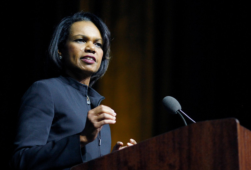 Former Secretary of State, Condoleezza Rice, speaks about the state of the Middle East, foriegn policy and education Tuesday at Moby Arena in Fort Collins. (Photo by Gabriel Christus)