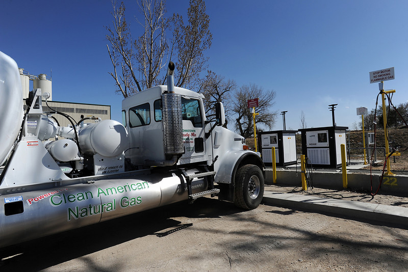 A Johnstown Ready-Mix concrete mixing truck is parked Thursday, March 29, 2012 at the fueling station where its holding tanks are filled with the compressed natural gas that the truck runs on.