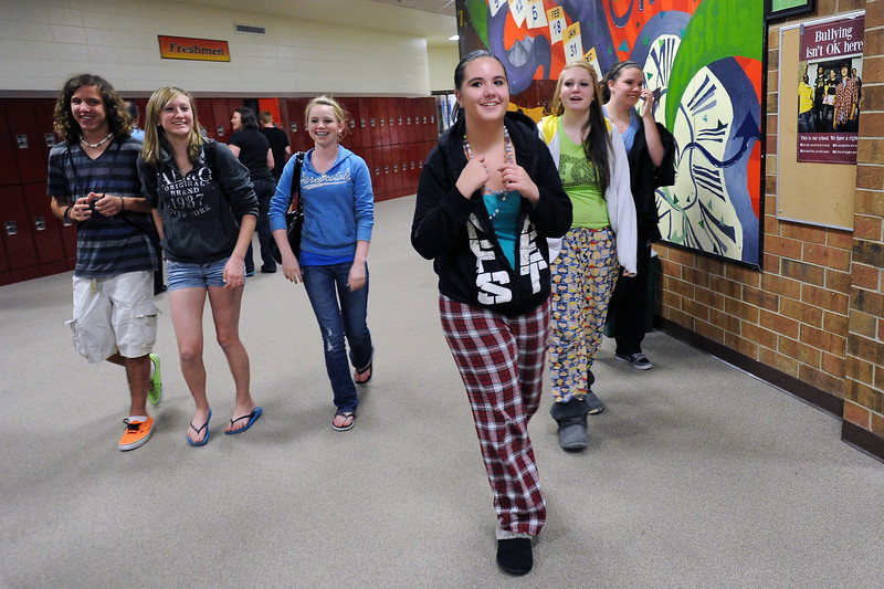 Berthoud High School freshmen walk together down a hallway at the end of the school day Wednesday, April 18, 2012 which was also Wear Your PJs to School Day to put bullying to rest. From left are Kurt Hucal, 15, Katie Rice, 14, Annika Boyer, 15, Rachel Shaw, 14, Alli Levine, 15, and Lauren Schiller, 14. The school's No Place For Hate group had activities all week long to raise about bullying awareness and prevention.