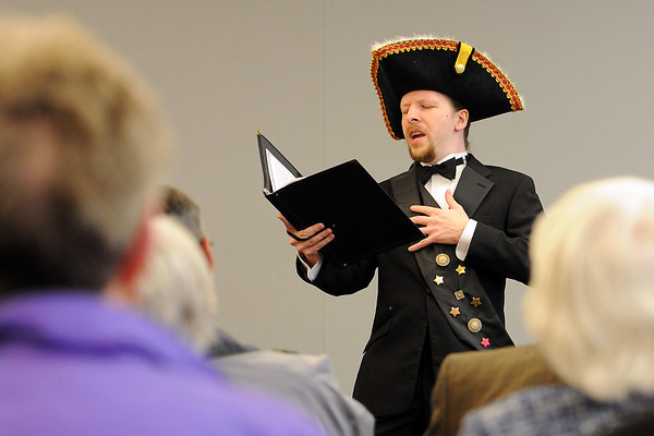 """Loveland Opera Theatre singer Joe Massman performs the song """"A Soldier's Life"""" from The Bohemian Girl during the Grand Night for the Community event at the Rialto Theater Center on Friday, April 13, 2012."""