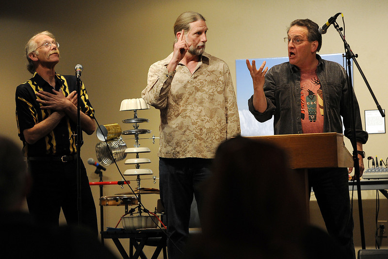 Members of the Fort Collins group TVS and Two Fingers, from left, Dave Zekman, Tim Van Schmidt and Mark Rosoff perform poetry with sound art during the Poetry Month Extravaganza at the Loveland Museum/Gallery on Saturday, April 14, 2012.