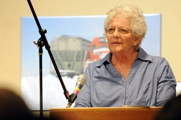 Barbara Test of Denver reads aloud one of her poems during the Poetry Month Extravaganza on Saturday, April 14, 2012 at the Loveland Museum/Gallery.