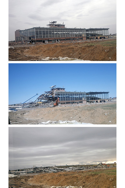 "Stages of the former Cloverleaf Dog Track during its recent demolition. Visit  <a href=""http://www.reporterherald.com"">http://www.reporterherald.com</a> to watch a time-lapse video as the building is torn down."