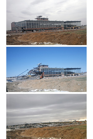 """Stages of the former Cloverleaf Dog Track during its recent demolition. Visit  <a href=""""http://www.reporterherald.com"""">http://www.reporterherald.com</a> to watch a time-lapse video as the building is torn down."""