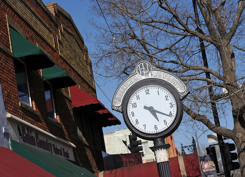 The Herrick's Jewelry clock is seen on the 200 block of east Fourth Street in downtown Loveland on Friday, April 26, 2013. According to documents provided by the City of Loveland, the clock was made by the Brown Street Clock Co. in Monessen, Pa., and was installed in Loveland in 1910.