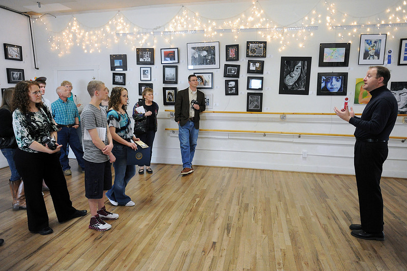 Rep. Jared Polis, right, speaks to attendees of the 2nd Congressional District Art Show on Saturday, April 20, 2013 at the Wildfire Community Arts Center in Berthoud.