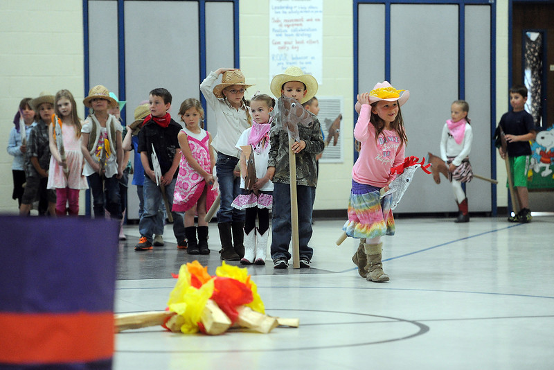 Namaqua Elementary School students participate in the kindergarten rodeo on Friday, April 26, 2013 in the school's gymnasium.